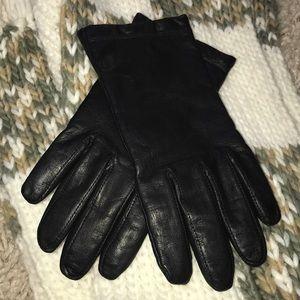 Leather Cashmere Gloves, Black